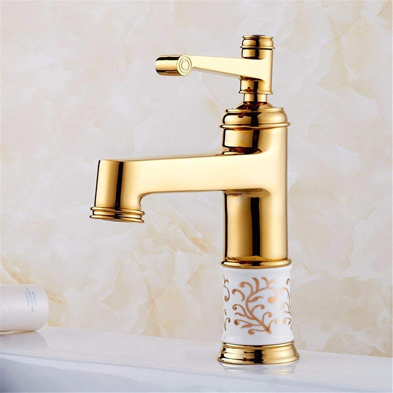QXHELI Titan Gold Continental Blaue und weie Porzellan Waschbecken Wasserhahn