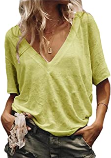 Gocgt Women's Summer Tops Blouse Casual Loose V Neck Short Sleeve T Shirts