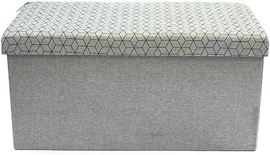 THE HOME DECO FACTORY CMHD3170 Coffre Rangement Banc Pliable Gris Clair M2, Lin, 76x37,5x37,5 cm