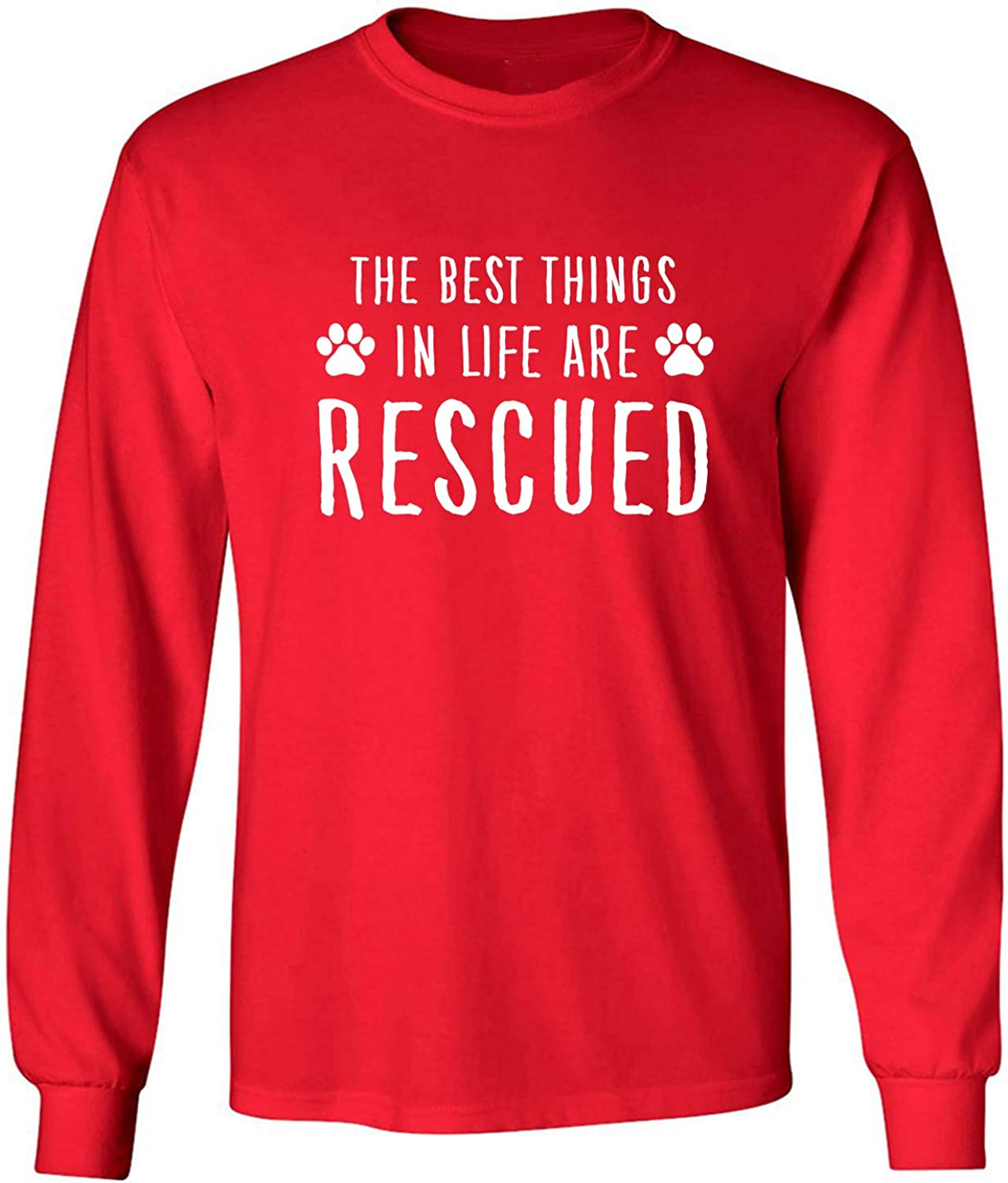 Best Things in Life are Rescued Adult Long Sleeve T-Shirt in Red - XXX-Large