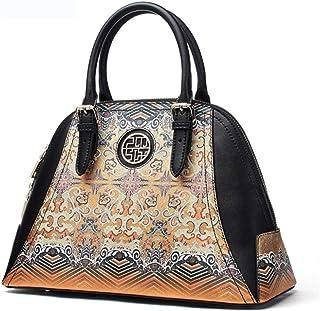 Unique Printed Split Leather Handbag Ladies Luxury Large Capacity Women's Bag Patchwork Ladies Shoulder Bag