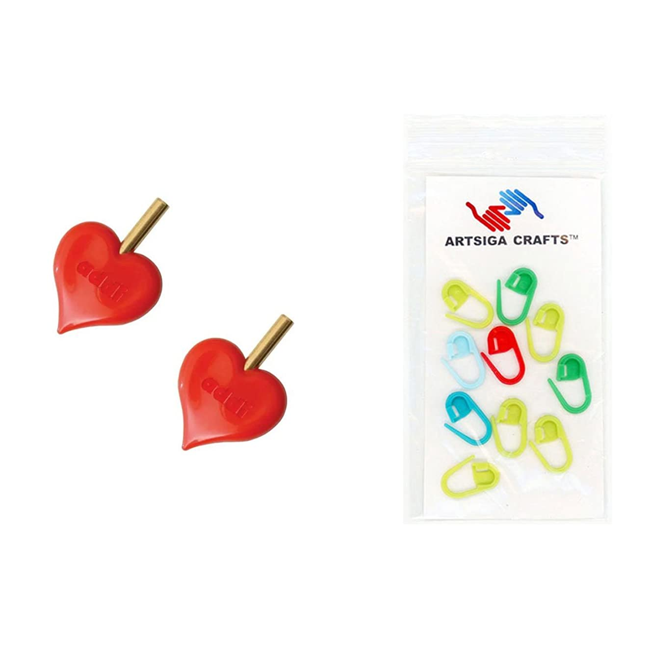 addi Knitting Needle Click Interchangeable Turbo HeartStopper End-Caps Bundle with 10 Artsiga Crafts Stitch Markers