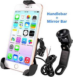 leepiya Motorcycle Phone Mount with USB Charger Port Not Cover Camera, Anti Shake with 360° Adjustable, Cell Phone Holder/Motorcycle Accessories Fix on Handlebars/Mirror for All 3.5 to 6