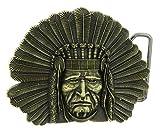 Native American Indian Chief Bronze Belt Buckle
