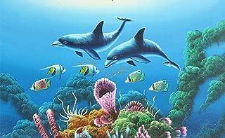 Wall Mural 3D Wallpaper Living Room Bedroom Tv Background -430cm×300cm(WxH) Deep Sea Ocean World Dolphin Wall Decoration Art