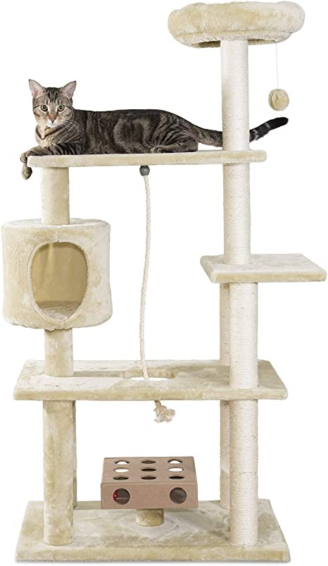 Amazon Com Furhaven Pet Cat Tree Tiger Tough Cat Tree House Condo Entertainment Playground Furniture For Cats And Kittens Deluxe Playground Cream Pet Supplies