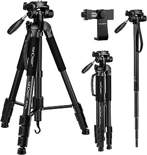 """K&F Concept 70""""/177cm Trípode Completo Liviano con Soporte para Movil y Monopie Trípode de Aluminio con Cabezal de 3 Ejes para Smartphone MóvilesCámaras Canon Sony Nikon Olympus"""