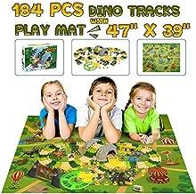 Dinosaur Race Car Track Toys with Play Mat, Dina Park 150 PCS Flexible Track Train Play Sets with 4 Dino Figures, 2 Car, 47