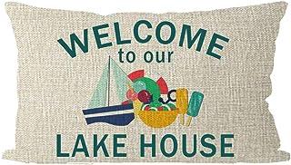 Systrar gåva njut av sommarsemestern välkommen till vårt sjöhus segelbåt glass ländrygg säckväv prydnadskudde fodral kuddö...