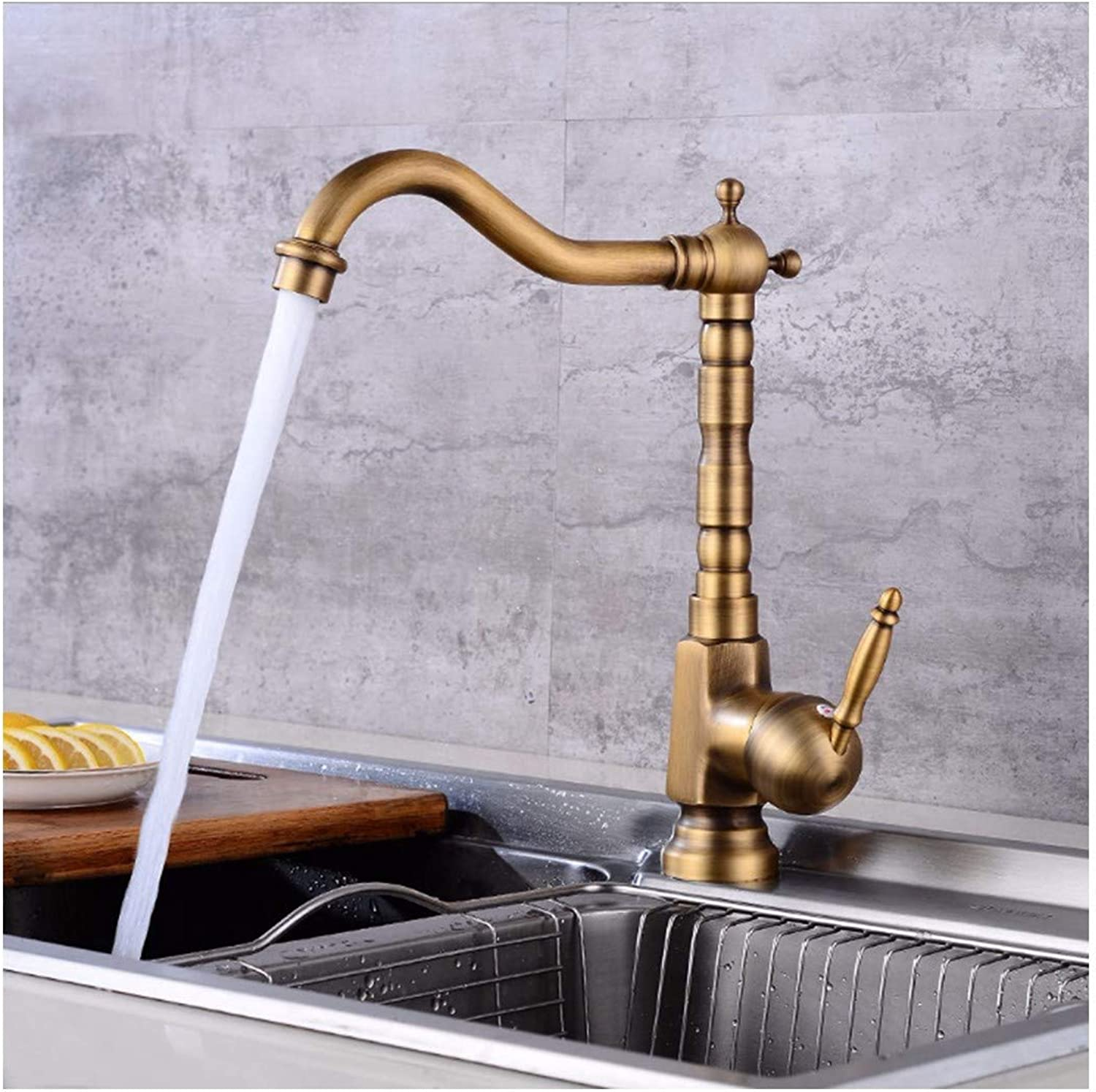 PatTheTap Retro Bronze Faucet Vintage Brushed All Copper Tap Right Angle 360 Degree redation Round Base 1-Hole 1 Handle Water Tap Hot and Cold Mixing Water-Tap with Hoses for Kitchen