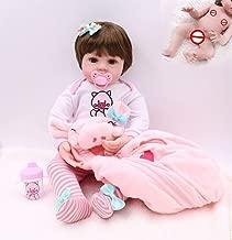 Redland Art Redland Art Premie Baby Size 48CM Full Body Silicone Pink Pig Dress Set Bebe Doll Reborn Doll Water Proof Bath Doll Toy Christmas Gfit (Color : Pink, Size : 48CM Blue Eye)