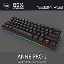 CORN Anne Pro 2 Mechanical Gaming Keyboard 60% True RGB Backlit - Wired/Wireless Bluetooth 5.0 PBT Type-c Up to 8 Hours Extended Battery Life, Full Keys Programmable (Gateron Brown, Black)