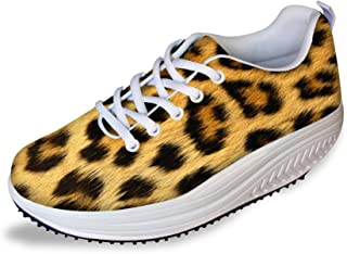 FOR U DESIGNS Women's Fashion Vivid Animal Skin Print Slimming Shoes Swing Wedges