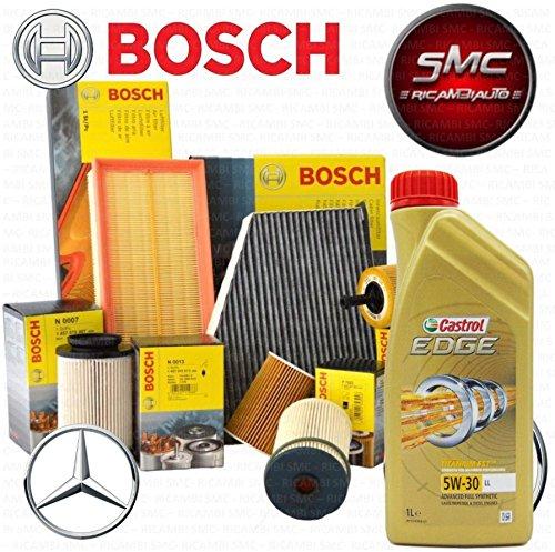 Tecneco Kit entretien 4 filtres Bosch + huile Castrol 5W30 6 L (1457433594, 1457429272, 1457434437 ou 026402065, 1987432410)