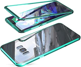 Compatible with Samsung Galaxy S8 Plus (6.2 inch) Case, Jonwelsy 360 Degree Front and Back Transparent Tempered Glass Cover, Strong Magnetic Adsorption Technology Metal Bumper (Green)