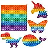 Push pop Bubble Sensory Fidget Toy Pop it Grande set Silicone Educativo Giocattolo Sensoriale Antistress Ansia Sollievo per Bambini Adulti (5 pezzi Arcobaleno Unicorno Farfalla Dinosauro Balena)