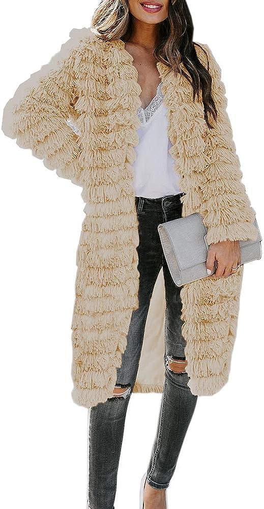 Womens Casual Long Sleeve Open Front Parka Shaggy Faux Fur Coat