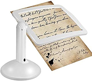 Fan-Ling New LED Magnifier Screen Magnifier with Light in White,Free-Standing Magnifier with 360-degree Rotation,LED Magnifier with Light Instantly illuminates Dark Areas