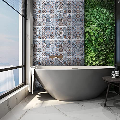 Decorflix Vinilo Azulejos Cocina Baño en rollo Adhesivo papel pintado pared decoración hogar revestimiento impermeable cenefa recortable (Patrón ceramico fondo Blanco, 60x300cm)