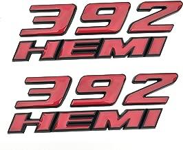 Yuauto 2 Pack OEM 392 Hemi Emblem Badge Decal 3D Logo for Dodge Challenger Chrysle 300c 3500 SRT8 (Red)