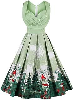 Fenxxxl Women's 1940s Vintage Audrey Hepburn Pleated Cocktail Party Skater Christmas Dress S-4XL