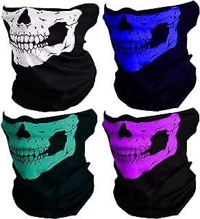 CIKIShield Couples Seamless Skull Face Tube Mask Black (4pcs-Color Set-B)