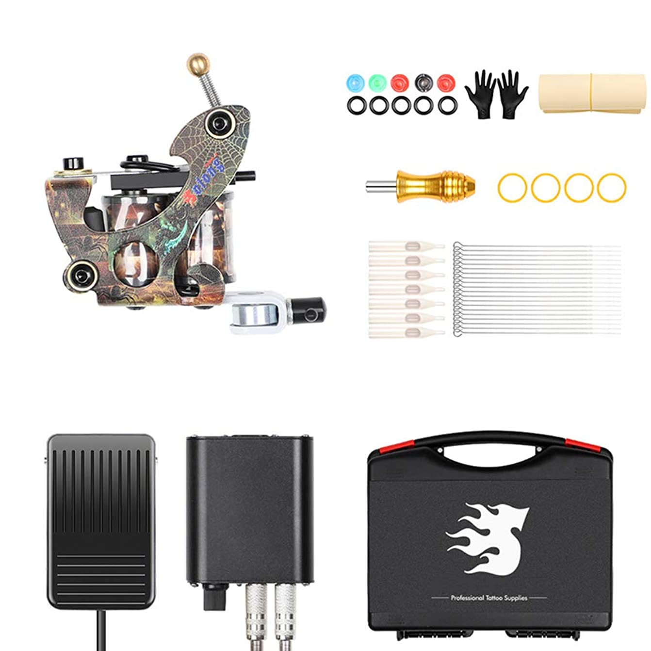 ライナーおよびシェーダー電源グリップニードル用キャリーケースTK106タトゥー初心者用コイルキット