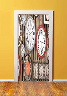 Clock Decor 3D Door Sticker Wall Decals Mural Wallpaper,Antique Clocks on the Wall Instruments of Time Vintage Decorative Pattern,DIY Art Home Decor Poster Decoration 30.3x78.5656,Brown and Red