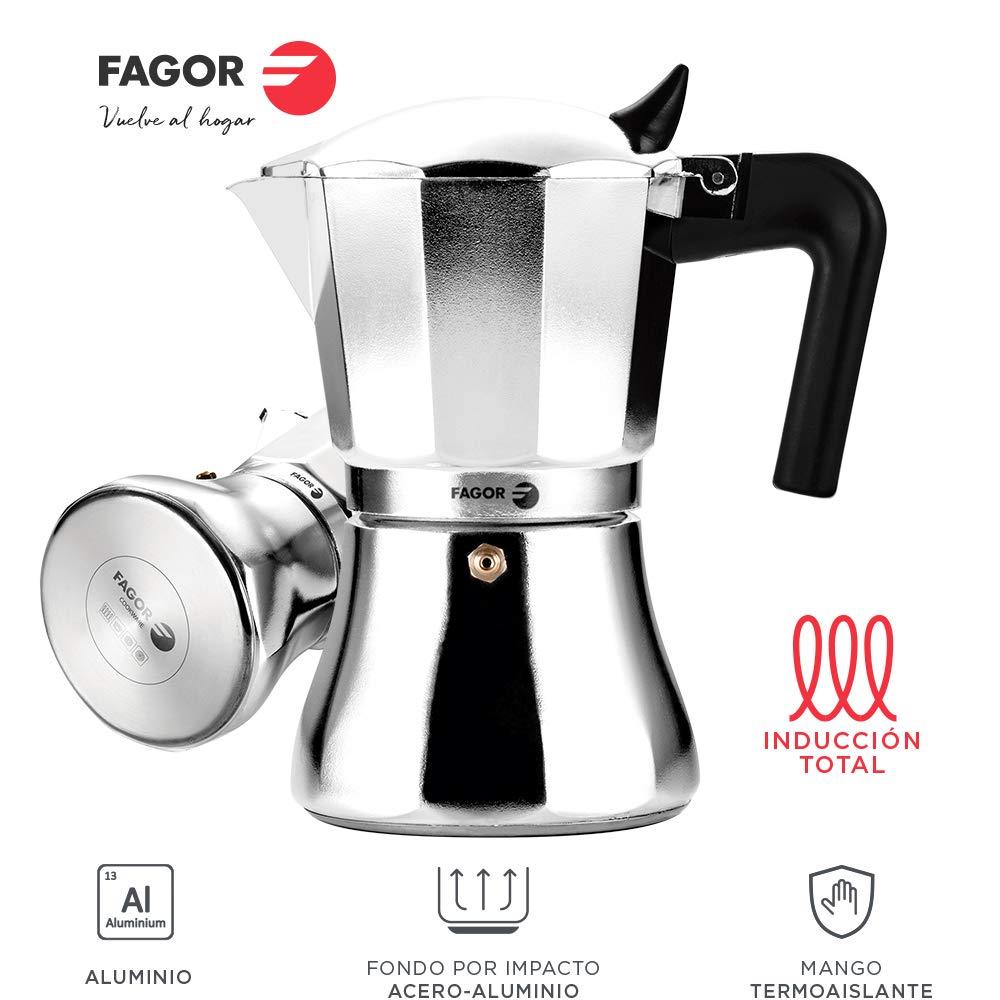 Fagor CUPY. La cafetera CUPY está Fabricada en Aluminio Extra Grueso. Pomo y Mangos Fabricados en Nylon Muy Resistente Toque Frio. Junta de Gran Durabilidad. Compatible con INDUCCIÓN. (12 Tazas): Amazon.es: Hogar