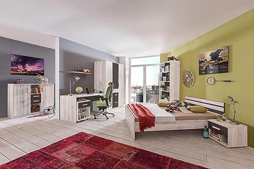 lifestyle4living 3-TLG. Jugendzimmer in Weißeiche-Nachbildung mit Abs. Graphit mit Kleiderschrank (B. ca. 135 cm), Bett (90x200 cm) und Schreibtisch (B  ca. 140 cm)