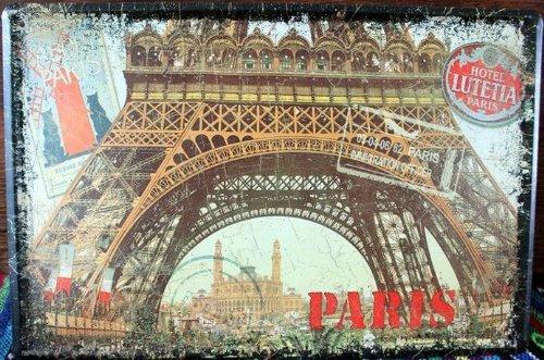 KB Style Vintage Paris Carte Postale rétro Plaque Poster Mural en métal 30 x 20 cm