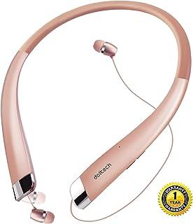 Bluetooth ネックバンドイヤホン ワイヤレスヘッドホン ヘッドセット 高音質 Bluetooth4.1搭載 CVC 6.0ノイズキャンセリング ハンズフリー マイク付き iphone Androidに対応 イヤホン 首掛け(ローズゴールド)