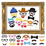 JZK 25 Photo Booth Props mit Rahmen, Brillen Lippen Krawatte Masken Hut Foto Requisiten Foto...