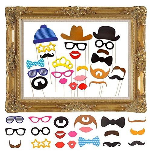 JZK 25 Photo Booth Props mit Rahmen, Brillen Lippen Krawatte Masken Hut Foto Requisiten Foto Accessoires für Hochzeit Geburtstag Taufe Babyparty Weihnachten Neujahr