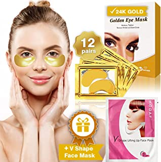 Collagen Eye Gel Mask for Dark Circles and Puffiness 12 Pairs +V Shape Lifting Up Face Mask - Puffy 24k Gold Eyes Treatment Pads Patches Bags - Anti Wrinkle and Energizing Masks - Luxury Organic Pad.