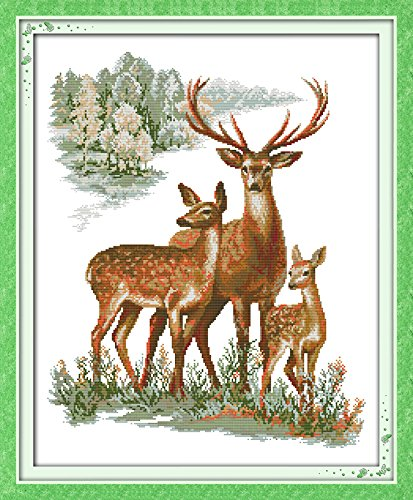 Happy Forever Cross Stitch Animals, a sika deer family