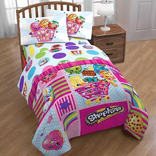 Shopkins Patchwork Niñas completo colcha y juego de sábanas (5 piezas cama en una bolsa) + caseras de cera Melt: Amazon.es: Hogar
