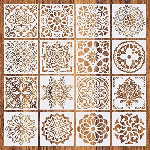 16 plantillas de pintura reutilizables, Plantillas de mandala, Plantillas de dibujo de mandala para decoración de bricolaje, madera, rocas y paredes arte, pintar, dibujo,15x15cm (Blanco)