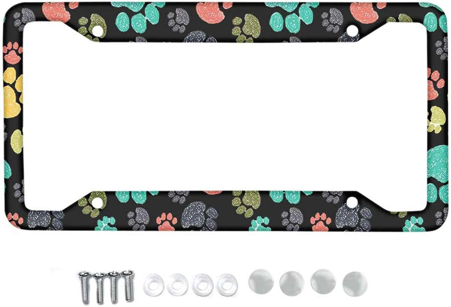 Frestree Rainbow Tie Dye Painting Metal License Plate Frame with Screw Caps Dust-Proof and Weather-Proof Durable