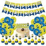 Minions Set de Fiesta de Cumpleaños, Hilloly 26 Pcs Suministros de Globos de Fiesta de Minions, Decoración para tartas con Minions, Globos y Adornos para Tartas, para Cumpleaños, Fiesta, Baby Shower