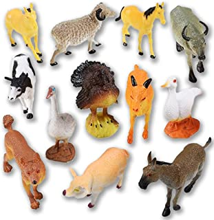 ArtCreativity 4 Inch Farm Animals Figurines Toys - 12 Pack - Mini Plastic Barnyard Figures for Kids and Toddlers - Small Birthday Party Favors,, Goody Bag Fillers, Gift for Boys and Girls