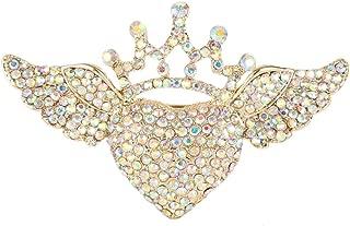 EVER FAITH Austrian Crystal Romantic Love Heart Angel Wing Crown Brooch