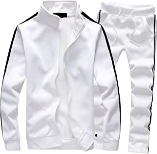 Maweisong Men's Casual Tracksuit Long Sleeve Full-Zip Running Jogging Sports Jacket and Pants