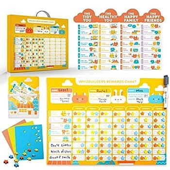 Behavior Chore Reward Star Chart   Multiple Kids Toddlers Age Magnetic Visual Responsibility Potty Training Calendar Schedule Board Magnet Sticker Homeschool Kindergarten Preschool Learning Supplies