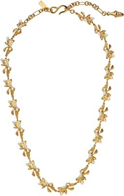 Kenneth Jay Lane - Satin Gold And Pearl Flowers 1 Strand Adjustable 'S' Hook Necklace