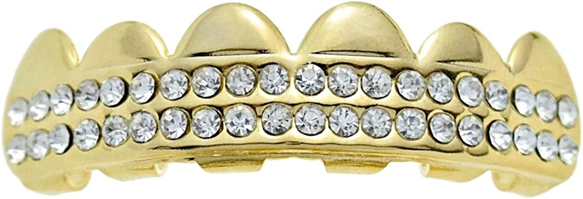 Best Grillz 14k Gold Plated Top Upper Top Teeth Iced Two Row Hip Hop Grills