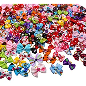 YOY 50 Pcs Adorable Grosgrain Ribbon Pet Dog Hair Bows with Elastic Rubber Bands – Doggy Kitty Topknot Grooming Accessories Set for Long Hair Puppy Cat