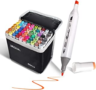 ZSCM 60 Colors Dual Tips Alcohol Based Permanent Marker Pens with Case Art Twin Markers for Painting, Coloring, Sketching and Drawing (60 Colors)