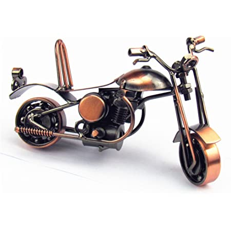 XIZHI Creative Retro Hand Soldering Wrought Iron Motorcycle Model Collectible Art Sculpture Handmade,Home Decor Ornaments for Motorcycle Lovers or Kids,Copper Color