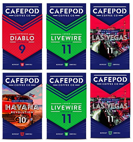 CafePod Nespresso Compatible Coffee Pods - Variety Mixed Strengths - 6 Packs of 10 Capsules (60 Drinks)